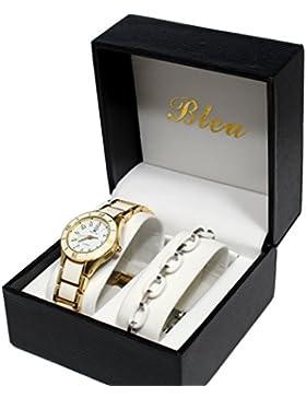 Set: Damen Armbanduhr, vergoldet / Weiß + Armband, Keramik, Collection Dolce Vita