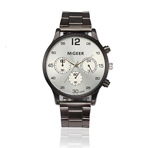 Uhren Mode-Mann-Kristall-Edelstahl-analoges Quarz-Armbanduhr-Armband (Weiß)