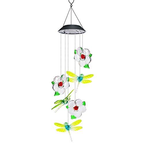 AVEKI Wind Chimes Outdoor, Solar Windspiel LED Farbwechsel Hängelampe Wasserdicht Solar Powered Wind Chimes für Indoor Outdoor Garten Terrasse Dekoration