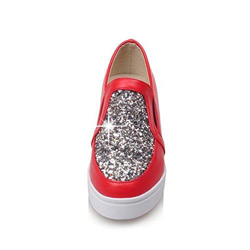 VogueZone009 Damen Rund Zehe Ziehen Auf Pu Leder Gemischte Farbe Mittler Absatz Pumps Schuhe Rot