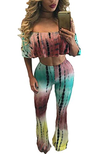 Damen Multi Farbe off Schulter Tie Dye 2-teilig Hose Hosen Jumpsuit Catsuit Clubwear Kleidung Größe S UK 8–10EU 36–38 (Farbe Tie Dye Multi)