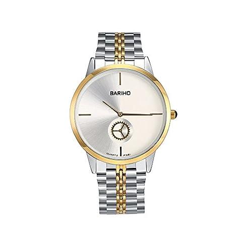 Hongboom Luxe Bracelet en acier inoxydable montre bracelet étanche à 30m pour homme décontracté Business zircon Quartz Analogique Montre-bracelet