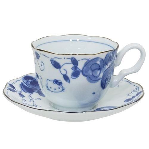 Kanesho Keramik Sanrio Hallo Kitty blaue und weiße Farbe Rosen-Motiv Miniatur japanische Teetasse & Untertasse Set Modern 307737 -
