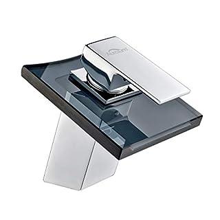 Auralum® Chrom Armatur Wasserhahn Waschtischarmatur mit Grau Glas Wasserfall Waschtisch Waschbecken Einhebelmischer für Bad und Küche