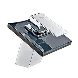 AuraLum Armatur Wasserhahn Waschtischarmatur mit Grau Glas Wasserfall Waschtisch Waschbecken, Einhebelmischer für Bad und Küche Kupfer