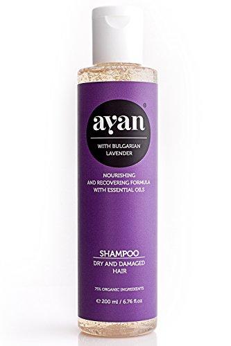 AYAN Naturkosmetik Shampoo Lavendel ✔ Bio-Wirkstoffe ohne Silikone, Sulfate, Parabene ✔ für trockenes und beschädigtes Haar ✔ Frische, Glanz, Geschmeidigkeit ✔ 200ml