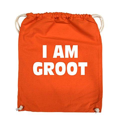 Borse Comiche - Io Sono Groot - Logo - Turnbeutel - 37x46cm - Colore: Nero / Rosa Arancio / Bianco