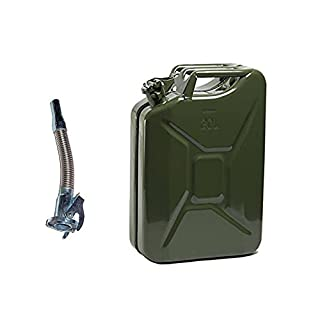 SavingPlus 20L METAL JERRY FUEL CAN DIESEL PETROL OIL GREEN MILITARY WITH STAINLESS FLEXY SPOUT