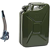 SAVINGPLUS 20L METAL FUEL CAN DIESEL PETROL OIL GREEN MILITARY WITH STAINLESS FLEXY SPOUT