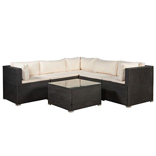 ArtLife Polyrattan Lounge Nassau schwarz | Gartenmöbel-Set mit Ecksofa & Tisch | cremefarbene Bezüge | Sitzgruppe für Terrasse & Wintergarten