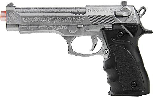 Karneval-Pistole Spielzeug-Pistole Waffe 1 zu 1 zum Polizei-Kostüm 20cm Erwachsene und Kinder Silber SWAT S.W.A.T