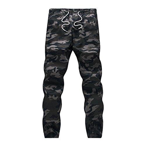 WTUS – Sottile Pantaloni Nero– Di tuta – Sportivi – Motivo mimetico – Tasche – Da uomo Grigio