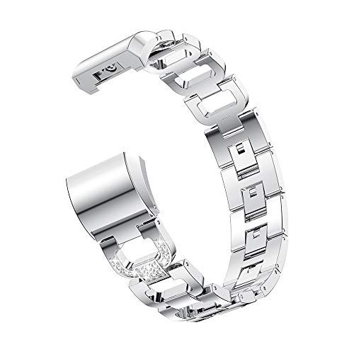 Gimartuk Metallbänder für Fitbit Charge 2, Ersatz Charge 2 Uhrenarmbänder Edelstahl Armband Armreif Armband Zubehör Band für Fitbit Charge HR 2 Small Large, Damen, WF-416, Silver-D link, 5.5-8.1 inch