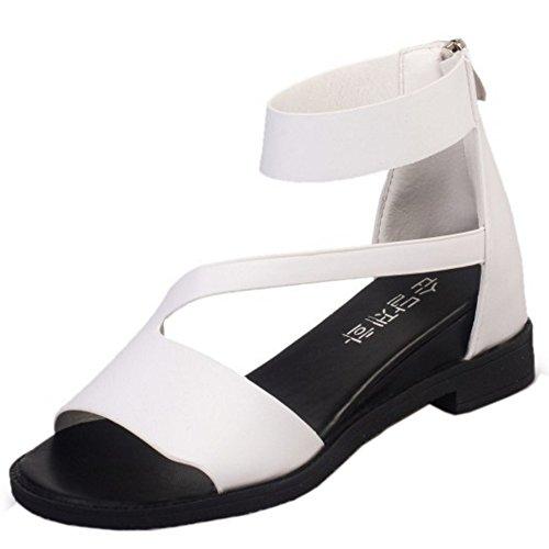 TAOFFEN Femmes Mode Peep Toe Sandales Bloc Talons Moyen Fermeture Eclair Chaussures Blanc