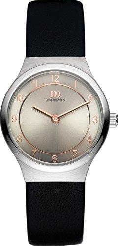 Danish Design Women's Quartz Watch with Grey Dial Analogue Display and Black Leather Bracelet DZ120337