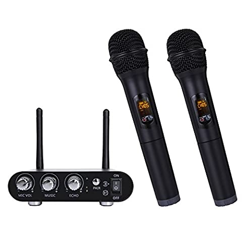 UHF&VHF Bluetooth Wireless Dynamic Karaoke Microphone Receiver Set, Dual Handheld Vocal Mic Microphone for Computer Speaker / Power Amplifier / PC/ Mobile with LED Display, Black (UHF with