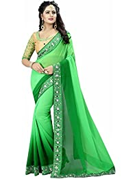 Kanha Fashion Parrot Green 2D Color Georgette Saree With Unstitched Blouse Sarees Sarees Saree Sari Saree