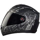 Steelbird SBA-1 R2K LIVE Full Face Helmet in Matt Finish with Smoke Visor (Medium 580 MM, Matt Black/Grey)