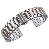 High-End-Edelstahlarmbänder mit geradem und gebogenem Ende Armbanduhr-Armbandarmband-Armbandersatz 24mm Gold-Silber Two Tone