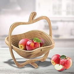 MonsterCadeaux - Panier à fuits Pliable - Pomme - Corbeille à Fruits - Dessous de Plat en Bambou - Ustensile de Cuisine - Bois - Idée Cadeau Originale - Homme - Femme