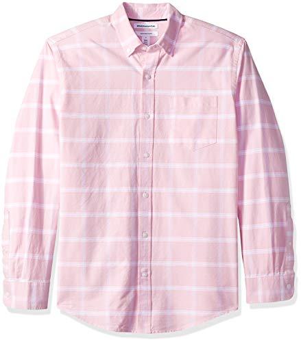 Amazon Essentials Regular-Fit Long-Sleeve Windowpane Pocket Shirt Freizeithemd, Pink Pin), US L (EU L) -