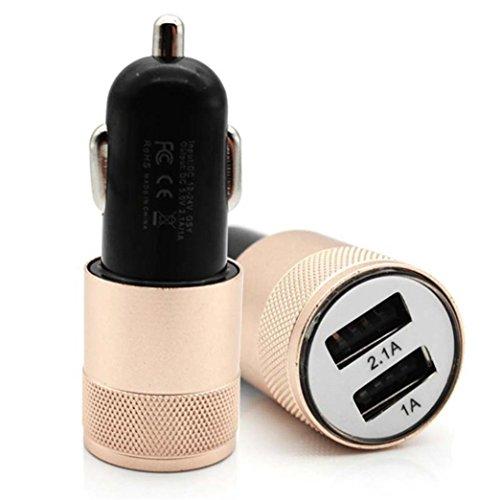 MMLC 5V 2.1A Mini Dual 2 Port USB KFZ Ladegerät für Smart Mobile Handy USB Car Charger (Gold) Gold Dual Wall Plate