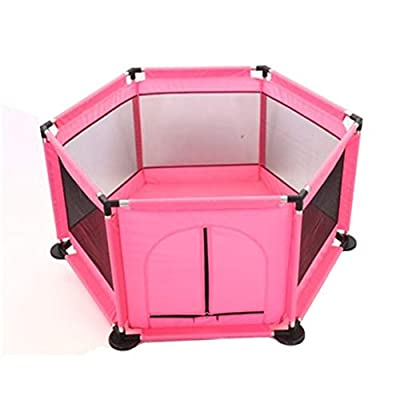 Playpens Baby Portable Child Safety Fence Indoor Security Fence For Girls - Pink 50×44×25.5 Inches