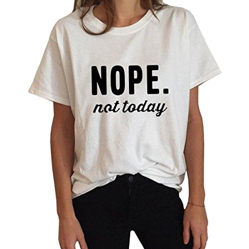 BLACKMYTH Damen Casual Kurzarm T-shirt Mode Bedruckte Sommer Frauen Magliette Weiß Medium