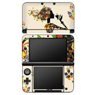 Nintendo 3 DS XL Case Skin Sticker aus Vinyl-Folie Aufkleber Kaffee Blumen Silhouette (Blume Silhouette)