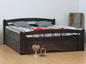 massives schubladenbett 180x200 bett doppelbett inkl. Black Bedroom Furniture Sets. Home Design Ideas