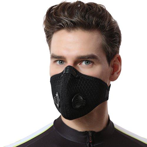VORCOOL Staubmaske Gesichtsschutz Extra Filter Baumwolle Blatt und Ventile für Radfahren Reiten Radfahren Staubdicht Maske Outdoor-Aktivitäten, Schwarz -
