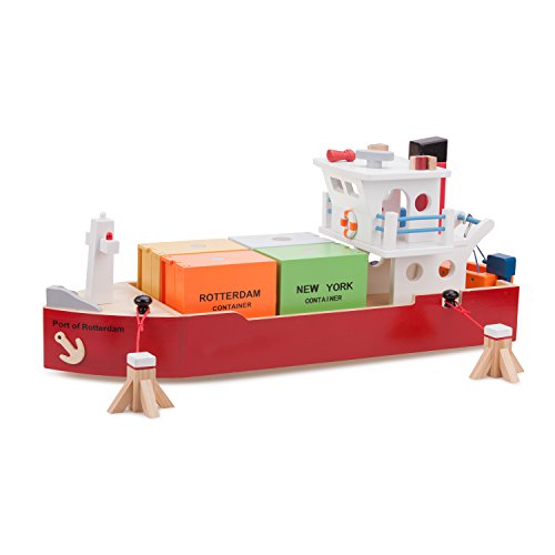 New Classic Toys - 10900 - Harbor Line - Containerschiff mit 4 Containern