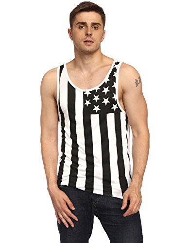 918coshiert Herren Amerika Flagge Ärmelloses T-Shirt USA Flag Fitness Tank Top Schwarz M