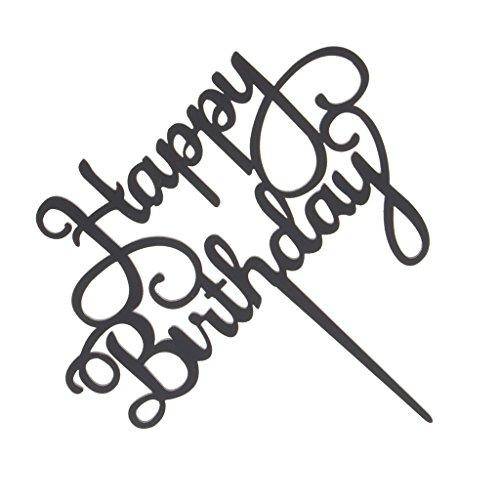 (Fenteer Happy Birthday Cake Topper, Gold und Schwarz Farben - Schwarz)