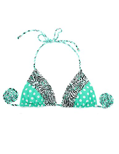 RELLECIGA Damen Bademode Triangel Bikini Unterteil im Brasil Style Animal Spitze Grün + Zebra
