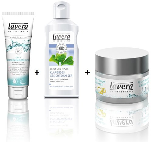 Lavera sensitiv Reinigungsmilch125 ml +klärendes Gesichtwasser 125 ml + Feuchtigkeitscreme Q10 basis 50 ml im Set für strahlende Haut (Bio-klaren Honig)