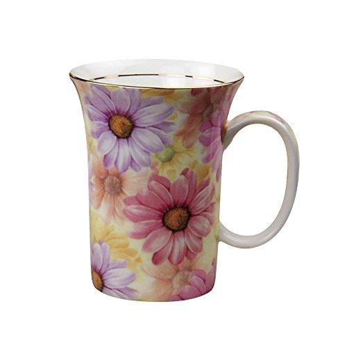 YBK Tech Euro Style Art Bone China Keramik Tee Tasse Kaffee Tasse für Frühstück Home Kitchen (Floral Design) Chrysanthemum (Bone China Gold Trim)