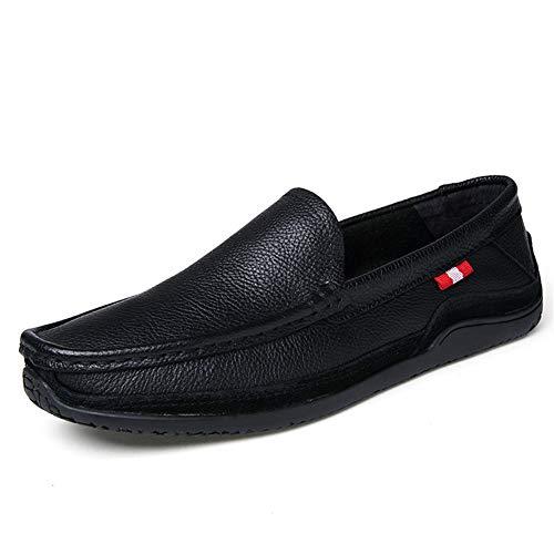 GPF-fei Herrenschuh Leder Faulet Schuhe Loafers Schuhe & Slip-One Round Zehenschuh Peas Schuhe Comfortable Fashion Breathable Leisure,Black,42