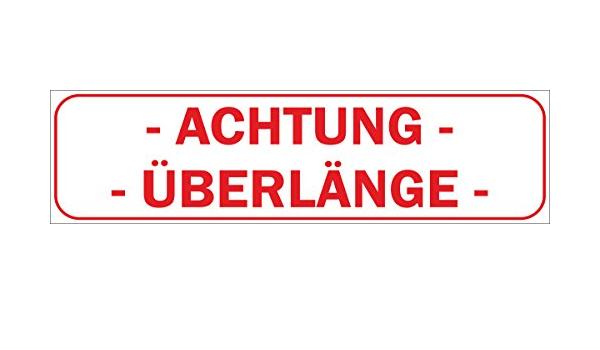 Indigos Ug Magnetschild Achtung ÜberlÄnge 30 X 8 Cm Magnetfolie Für Auto Lkw Truck Baustelle Firma Auto