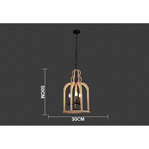 BIU Vento corda creativo Café ristorante Café retro industriale uccello gabbia lampadari