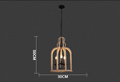 HUA Vento corda creativo Café ristorante Café retro industriale uccello gabbia lampadari
