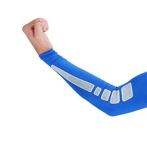1 Paar Armbandage Kompressions-Ellenbogenbandagen Arm Sleeve Ellenbogen Schoner UV-Schutz Atmungsaktiv Herren Damen für Outdoor Basketball, Joggen, Fitness Sport ( Farbe : Blau , Abmessung : XL )