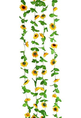 U'Artlines 4er Pack (2,6 m pro Strang) Künstliche Sonnenblumen Girlande Seiden Blumen Rebe Haus Hochzeit Garten Dekor(12 Köpfe Sonnenblumen pro Girlande)