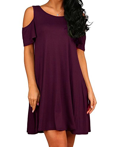 HAOMEILI Damen Langarm Kalte Schulter Swing Kleid Tank Top Loose Casual T-Shirt Kleid mit Pocket (XL(EU 42-44), Lila)