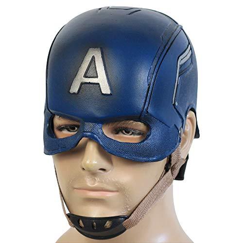 Captain America Maske PU Helm Avengers 3 Halloween Cosplay Party Kostüm Erwachsene Männer Kinder Kostüm Kleidung Replik Prop,Black-OneSize (Captain Männer America Für Kostüme)