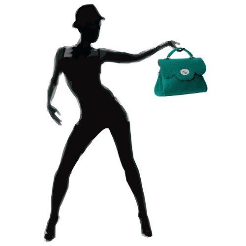 Borsa Donna In Feltro Di Caspar Con Manico Corto E Tracolla Made In Italy - Molti Colori - Benzina Ts588