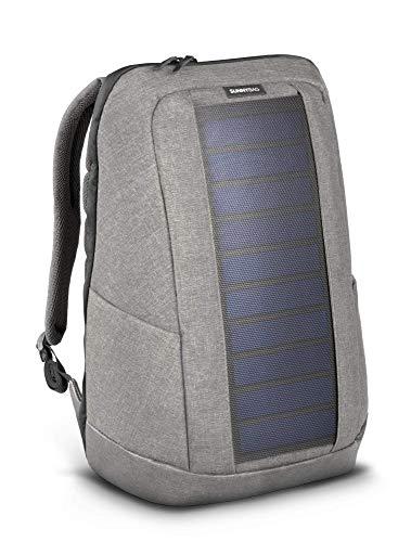 Sunnybag Iconic Laptop Solar Rucksack, 7 Watt Solarpanel, Ladegerät Smartphones (iPhone, etc.), Tablet, smartwatch + USB/dual-USB-Port, Grau/Cool Grey