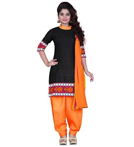 Muta Fashions Women's Cotton Salwar Suit Dress Material (SUIT68_01_Orange)