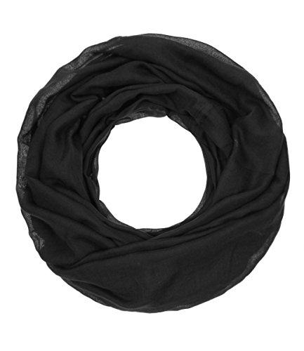"""Majea Loop """"Cary"""" Basic Schal Tuch Damen-schal Schlauchschal Rundschal Halstücher uni unifarben Loopschal einfarbig (schwarz 1)"""