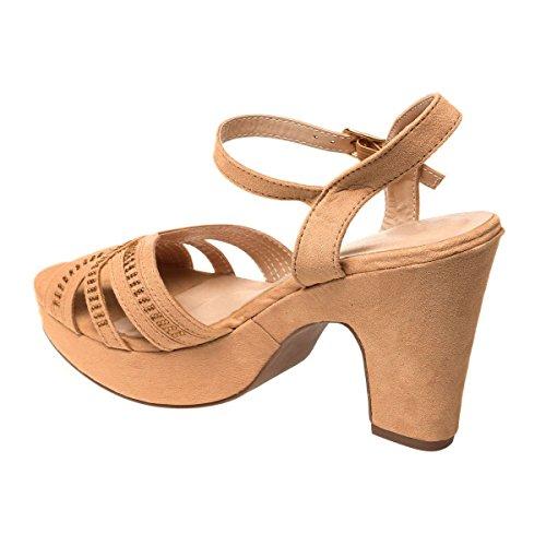 La Modeuse Sandales en Suédine Femme Camel